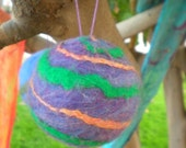 Felted Christmas Ornament Purple Galaxy Spiral