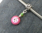 Pink Button Charm Bead - Vintage Antique China Button - European Style Large Hole Charm Dangle - Sterling Silver - Knitters Jewelry Gift