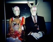 Halloween Decor, Rabbit Mask Photography, Killer Rabbits on the F Train, Holga Print