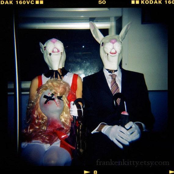 items similar to halloween decor, rabbit mask photography, killer