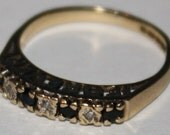 Vintage 9ct Gold Sapphire and Diamond Forever Ring