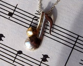 Musical notes Pendant 14K gold and silver together with chain unisex student gift