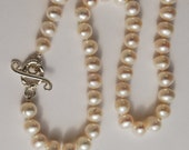 Strand of PEARLS, Coupon available Pearl Necklace Fresh water 8mm Pearls Women's knotted Sterling Clasp