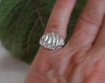 Ring Dome Sterling Scalloped texture curvy lines statement ring discontinued women's ring wide gift
