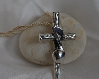 Cross pendant Musical Note Cross sterling silver rope chain church music gospel choir sing