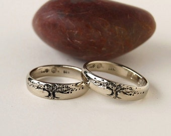 tree of life bands set in 14k gold wider