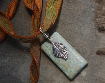 Pendant Moss Jasper Leaf Aqua marble stone sterling Leaf Rectangular light green