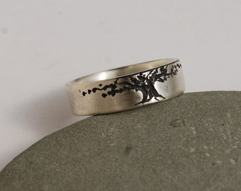 Tree of Life Wedding band 6.5mm Brush finish Sterling Ring Man's band Woman's band