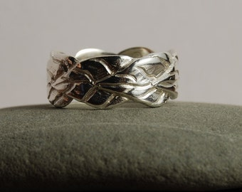 Band 8mm Wide Leaf, Sterling silver Wedding Band curved edge leaves overlapping each other