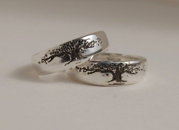 Tree Of Life Band Set Tapered Sterling Wedding Rings