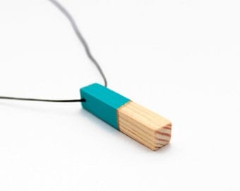 Geometric wooden necklace - turquise, gold, natural wood - minimalist, modern jewelry - color blocking