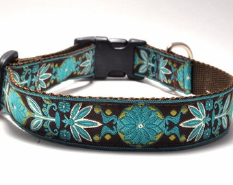 Floral Dog Collar/ Custom Dog Collar/ Marigold in Teal / Martingale or Buckle / Flower Dog Collar
