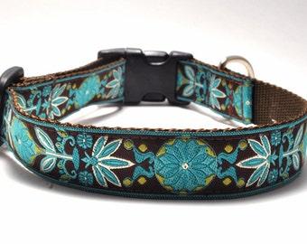 Floral Dog Collar/ Custom Dog Collar/ Marigold in Teal / Martingale or Buckle / Flower Dog Collar