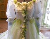 Wedding dress vintage whimsical  gown fairy fantasy plus head wreath OOAK white apple green tulle woodland
