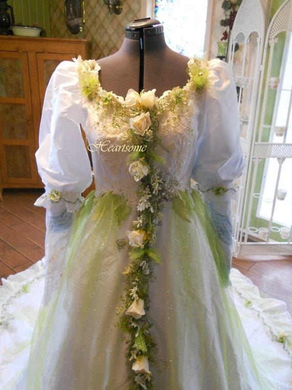 Wedding dress vintage whimsical gown fairy fantasy plus head for Woodland fairy wedding dress