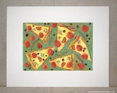 Art Print Digital Giclee Print of Pepperoni Pizza Art by Jen Norton
