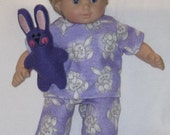 American Girl Bitty Baby Doll Clothes Gotta Love Purple Bunny Pajamas and Toy Bunny  15 16 inch Doll Clothes