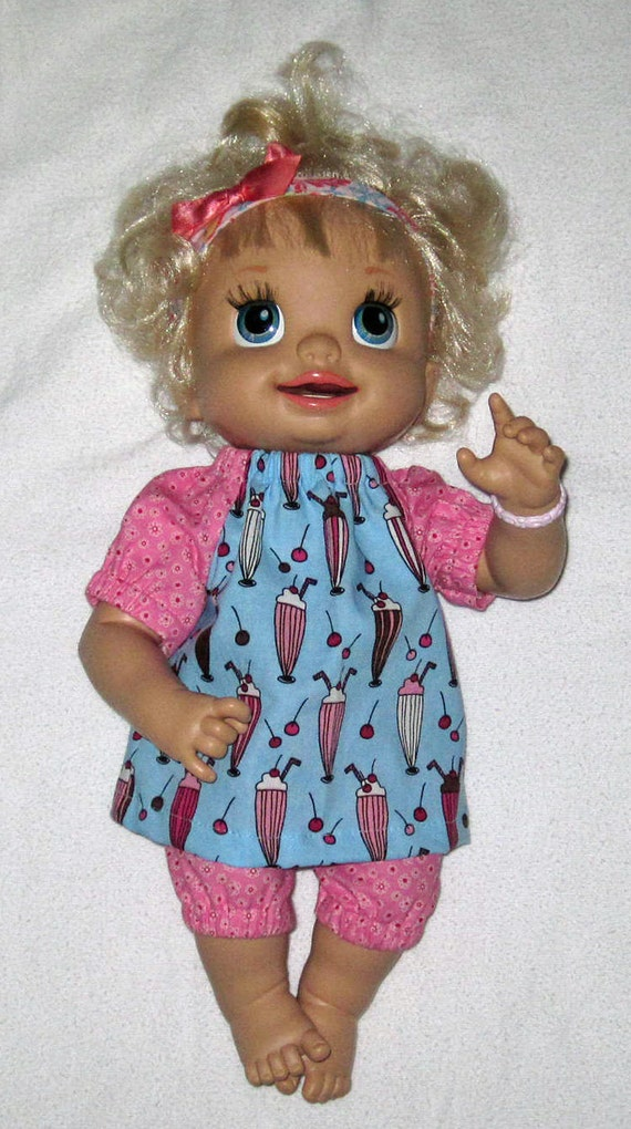 My Baby Alive Doll Clothes Blue and Pink Sweet Treats Top and Capri Set  Spring   Summer Sweet Treats