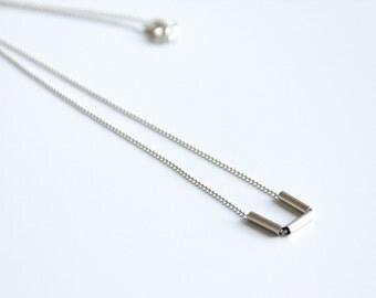 Silver Dainty Bar Necklace, Layering Bar Necklace, Silver Bars Necklace, Silver Ball Chain