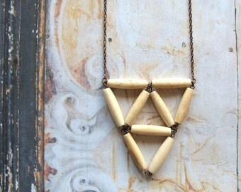 Triangles - Handmade Antiqued Bone Bead Geometric Tribal Bib Necklace - Gift Box
