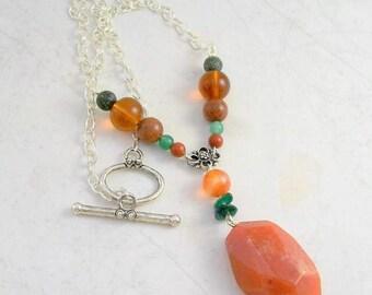 Kefi Carnelian Gemstone Necklace -Goldstone, Jade, Aventurine, Silver -Handmade OOAK, Grecian, Free US Shipping, Metaphysical, Statement