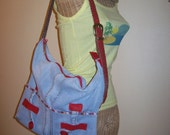 Recycled Blue Jeans Hobo Bag Upcycled Denim Reconstructed Eco Friendly Purse Red Leather