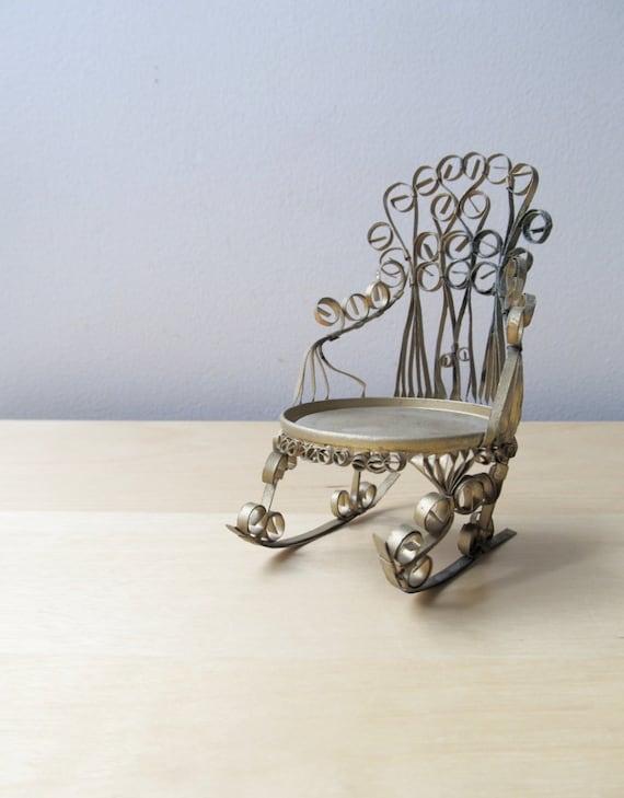 Modern swing arm curtain rod - Tramp Art Rocking Chair Folk Art Tin Can Art
