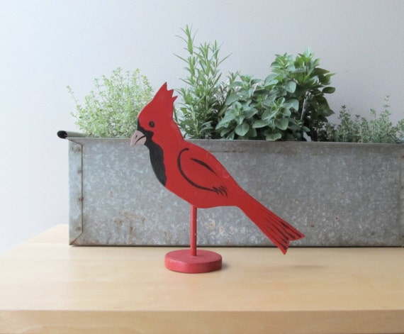 red cardinal, vintage folk art, bird on a stick