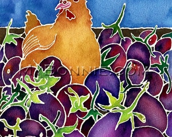 WHICH CAME FIRST. The Chicken or the Eggplant. Signed Chicken Art by Bonnie Gordon-Lucas. Farm. Purple. Hen. Vegetables. Eggplant. Blue Sky.