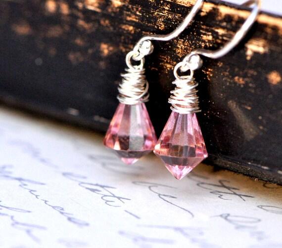 Mystic Pink Quartz Earrings, Sterling Silver Wire Wrapped Semi Precious Briolettes