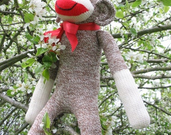 Handmade Sock Monkey, Classic Redheel Sock Monkey, Personalized, Limited Edition, Doll Toy Plush Stuffed Animal, Rockford