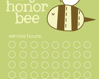 honor bee tracking chart   (pdf file)