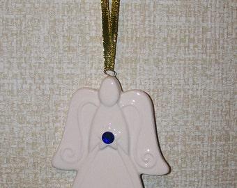 Porcelain September Birthstone Angel Ornament - for Birthday or New Baby