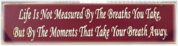 Life is not measured by the breaths we take... primitive wood sign