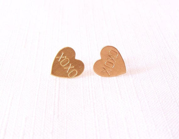 Stud Post Earrings - Handstamped Brass Hearts XOXO Conversation Hearts