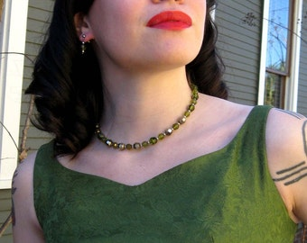 SALE Olive Green Crystals Necklace and Earrings Set