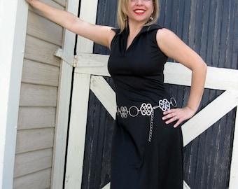 SALE Little Black Dress - Wardrobe Staple - 1970s Sleeveless Poly A-Line