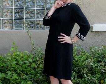 1960s Mod Black A Line Dress with White Trim