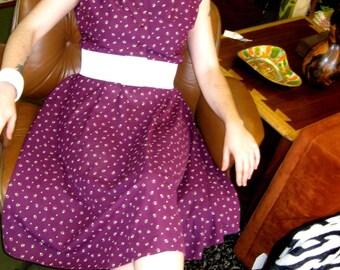 1980s Purple & White Dress - Carefree - Goes Anywhere
