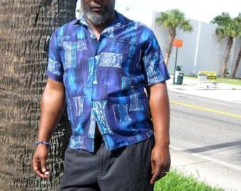 Blue & Aqua Tiki Hawaiian Shirt