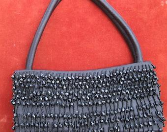 Black Beaded Fringe Evening Bag - Flapper Style