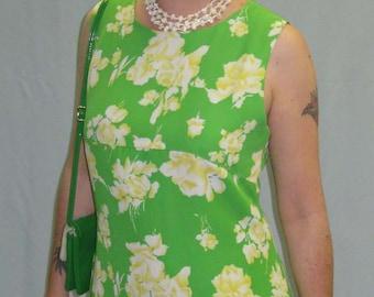 1970s Green Floral A Line Dress