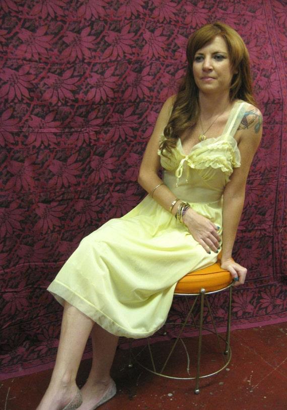 1960s Yellow Ruffled Nylon Nightgown