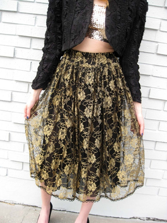 Black & Gold Lace Skirt