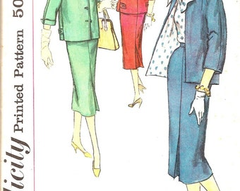 1950s Sewing Patterns - 50s  Womens Suit Pattern - Classic 50s Ladies Skirt Jacket Pattern - Retro  Simplicity 1957 - UNCUT - Bust 34""