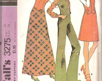 Vintage Sewing Patterns - 1970s Maxi Skirt Pattern - 70s High Waist Wide Leg Pants Pattern -  Bust 34 - 1970s Vest Pattern  - McCalls 3275