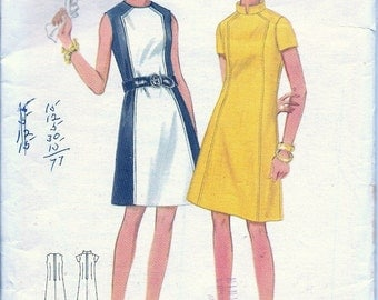 """1960s - Vintage Sewing Pattern - 60s Dress - A line - Color Block - Hipster - Mid Century - Madmen - Brady Bunch - Butterick 4795 - Bust 36"""""""