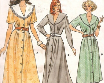 1980s Vintage Vogue Dress Pattern -Vogue Sewing Pattern - 9875 Button Down Dress Large Collar Dress - 1980s Fashion - Uncut
