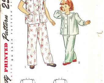 Vintage Sewing Pattern 1940s Pajamas Children's Simplicity 2048 UNCUT
