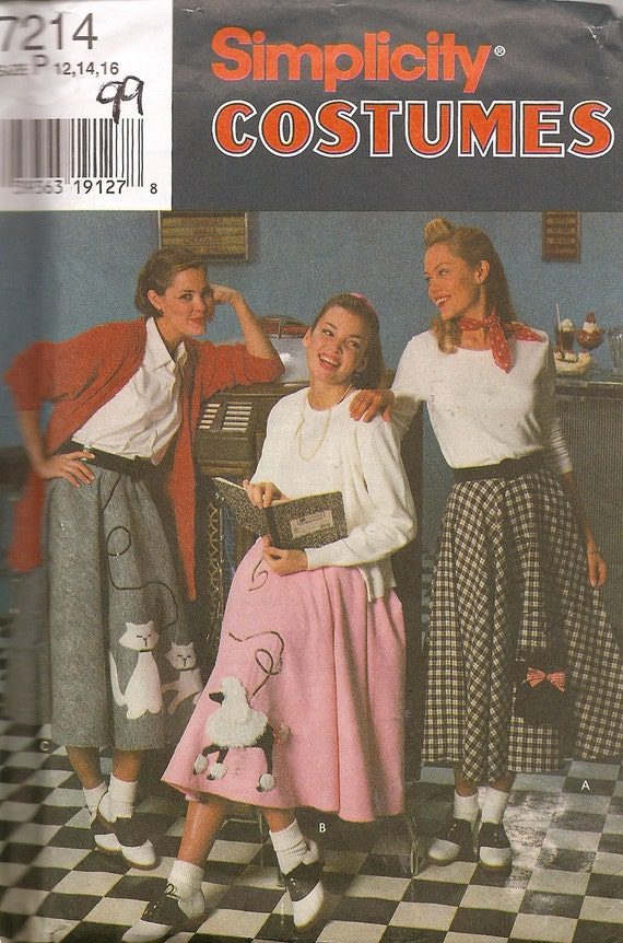 1950s Poodle Skirt Sewing Pattern Uncut Simplicity 7214 Costumes FRE SHIPPING for 3 Patterns